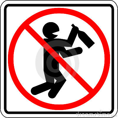 Drunk and drinking people prohibited vector sign