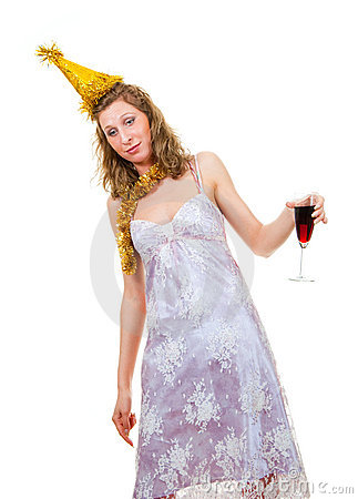 Drunk girl with a glass of wine