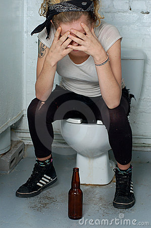Free Drunk Girl In A Public Toilet Stock Photos - 1579013