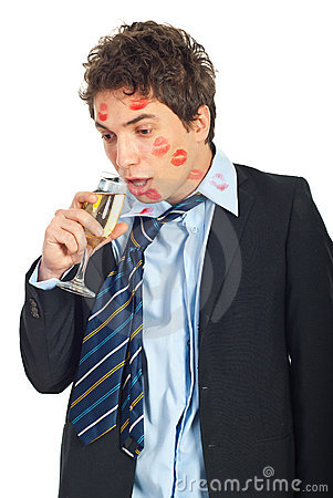Free Drunk Kissed Man Drinking Wine Stock Photography - 17755022