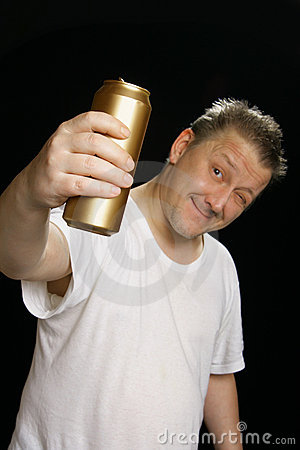 Drunk man with beer can