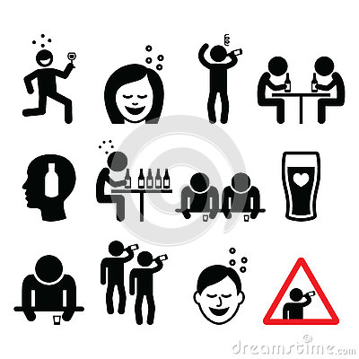 Drunk Man Woman People Drinking Alcohol Icons Set
