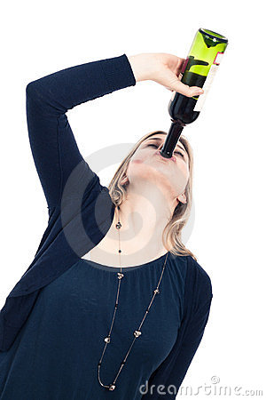 Drunk woman drinking wine