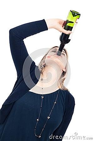 Drunk woman drinking wine