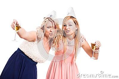 Drunk women celebrate