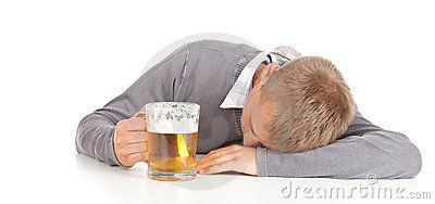 Drunk young man with beer