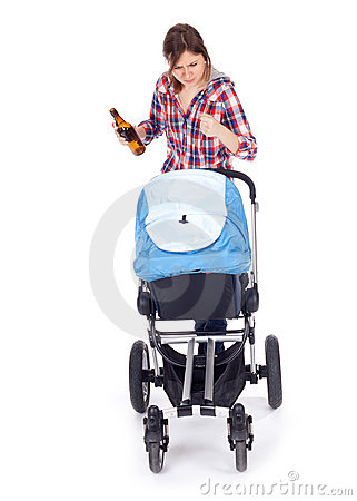 Drunk young mother with baby pram