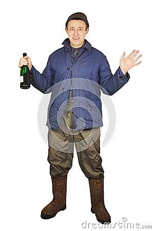 Drunkard with a bottle