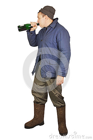 Drunkard is drinking from a bottle