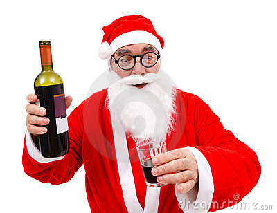 Drunken Santa Claus with wine bottle