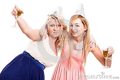 Drunken women celebrate