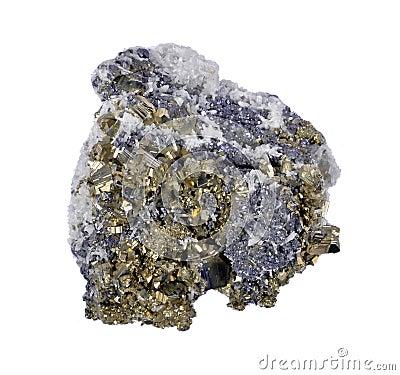 Druze de pyrites avec de la galène