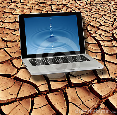 Dry Cracked Earth & Pure Water on Laptop Screen