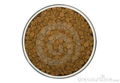Dry dog food in a dog dish
