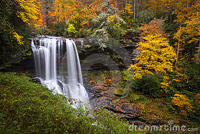 Dry Falls Autumn Waterfalls Highlands Nc Mountains Royalty