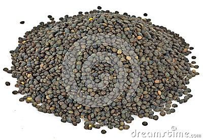 Dry grean speckled lentels.