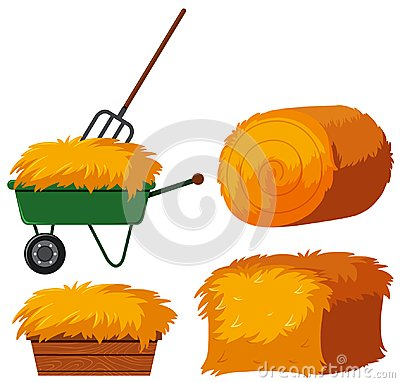 Free Dry Hay In Bucket And Wagon Stock Image - 105582771