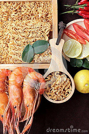 Free Dry Instant Noodle - Asian Ramen And Shrimp ,vegetables For Soup Stock Photo - 57098940