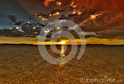 Dry Lake Sunset HDR