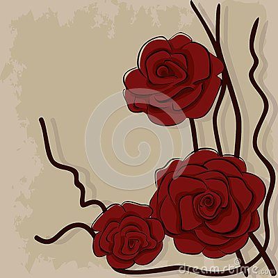 Dry red roses on stone