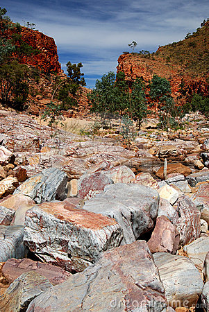 Dry river bed at Western MacDonnell Ranges