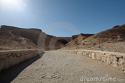 Dry road through desert