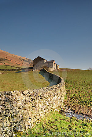Dry stone wall and barn