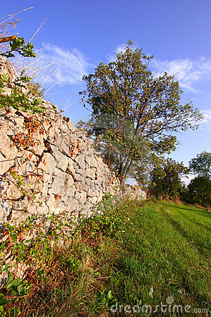 Dry stone wall in countryside
