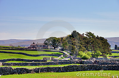 Dry stone walls and farm.