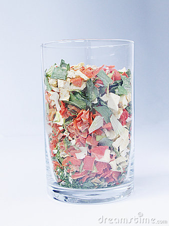 Dry vegetables in a glass