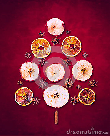 Free Dry Winter Fruits  Christmas Tree  On Red Background Royalty Free Stock Image - 47082666