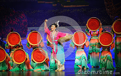 Dry wolfberrys-Hui ballet moon over Helan Editorial Stock Photo