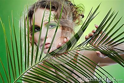 Dryad girl with fern