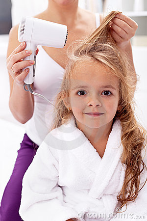 Drying hair - personal hygiene
