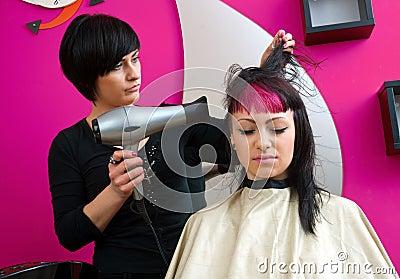 Drying hair in salon