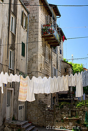 Drying linen in house precinct in downtown