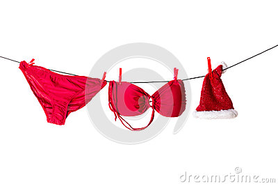 Drying red bikini of sexy santa helper