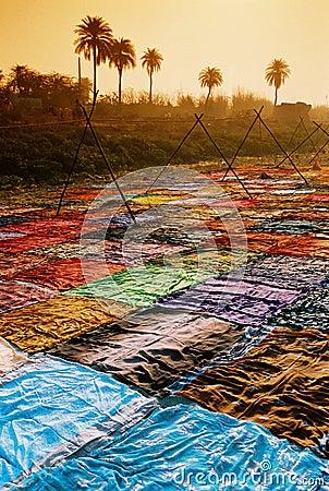 Drying sari, India