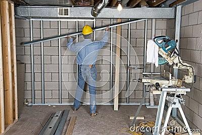 Drywall do trabalhador manual do contratante do trabalhador da construção