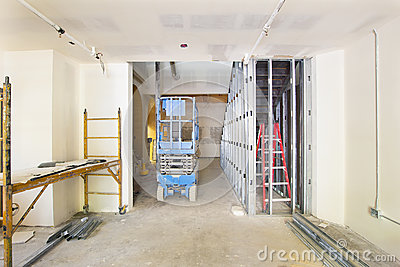 Drywall and Framing in Construction Site