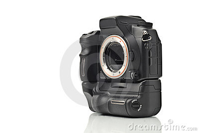 DSLR camera body without lenses isolated