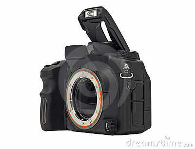 Dslr camera body with opened flash isolated