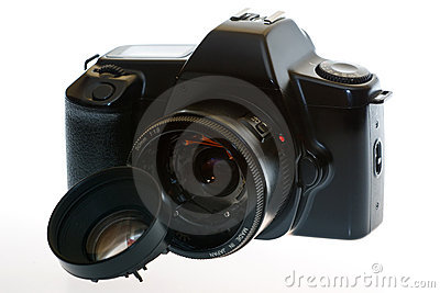 DSLR camera with a broken lens