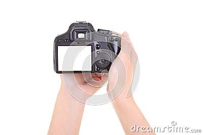 Dslr camera in female hands. copyspace
