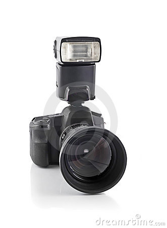 DSLR camera with telephoto lens and flash