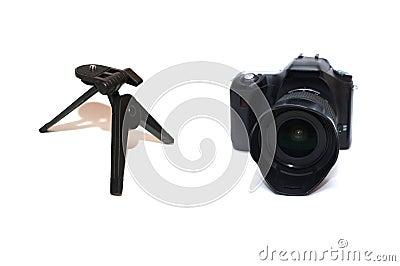 DSLR camera with tripod