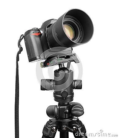 DSLR camera on tripod.