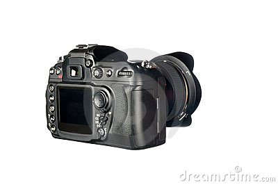 DSLR camera on white