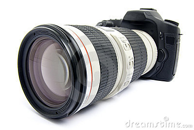DSLR camera with zoom lens.