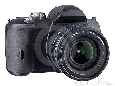 DSLR front angled view with lens on white